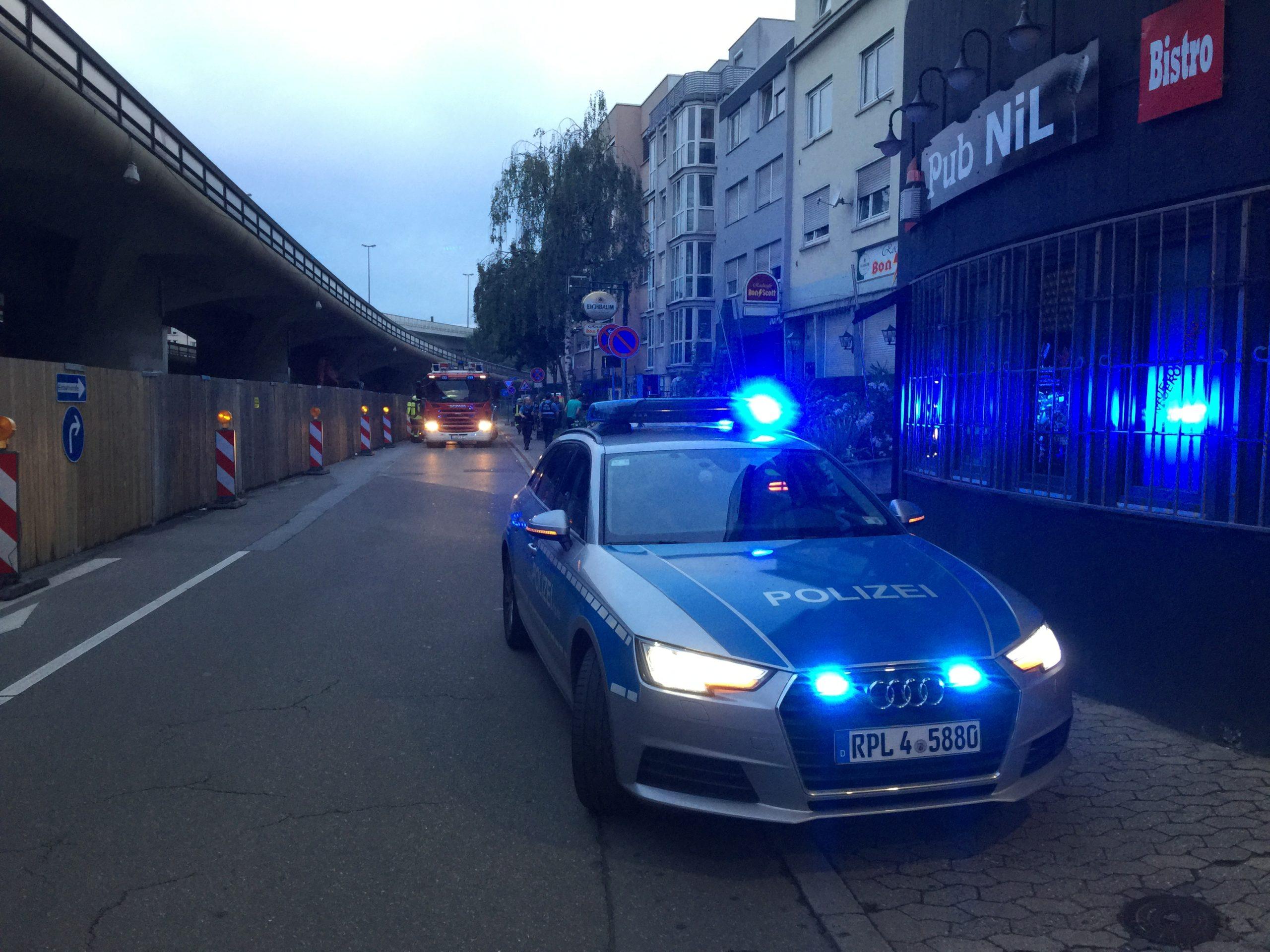 Blaulichter neben der Hochstraße-Süd in Ludwigshafen am Rhein